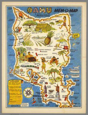 Topographic map of the island of Oahu Honolulu County Hawaii