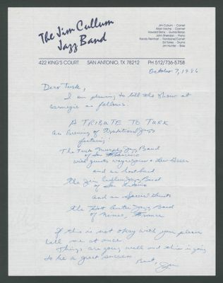 Letter from Jim Cullum to Turk Murphy regarding billing for the Carnegie Hall concert