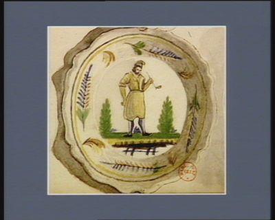 [Assiette décorée de la figure d'un révolutionnaire] [dessin]