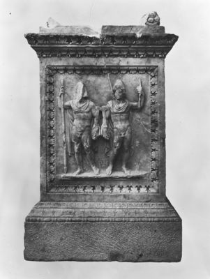 Lacus Iuturnae, the Dioscuri on the opposite side of the altar from the Helena relief