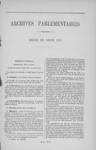 Tome 27 : Du 6 juin au 5 juillet 1791 - page ..