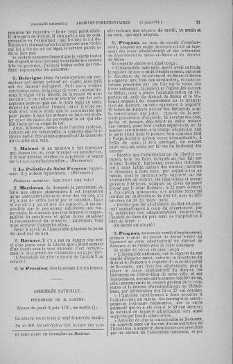 Tome 27 : Du 6 juin au 5 juillet 1791 - page 71