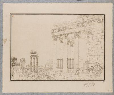 Tempio di Antonino e Faustina, colonnato del pronao visto da levante