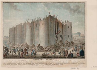 Demolition de la Bastille commencé sous Charles <em>V</em> en 1369 achevé en 1383. Pris le 14 juillet 1789 et demoli aussitot apres sa prise le vendredi 17 juillet 1789 jour a jamais memorable par l'auguste confiance de Louis XVI... : [estampe]