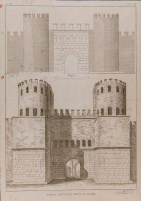 Porta Latina. Prospetto architettonico, ricostruzione