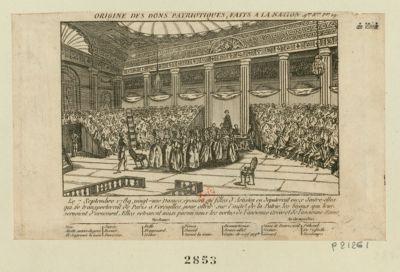 Origine des dons patriotiques, faits à la nation le 7 septembre 1789, vingt-une dames, épouses ou filles d'artistes en députerent onze d'entre-elles qui se transporterent de Paris à Versailles, pour offrir sur l'autel de la patrie les bijoux qui leur servoient d'ornement... : [estampe]
