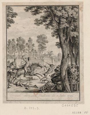 Evenement arriver aux Thuilleries le 12 juillet 1789 [estampe]
