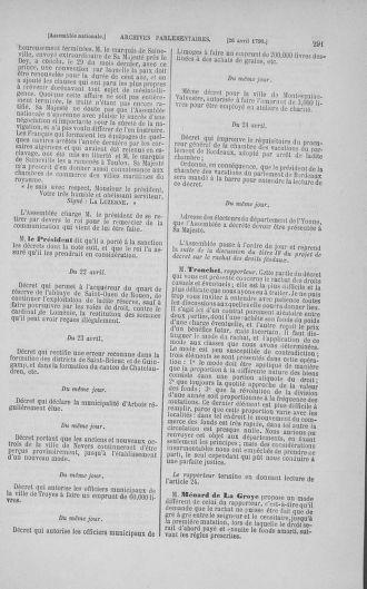 Tome 15 : Du 21 avril au 30 mai 1790 - page 291