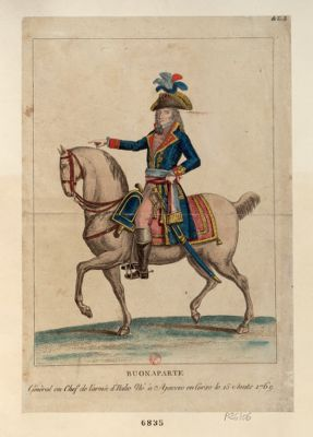 Buonaparte général en chef de l'armée d'Italie né <em>à</em> Ajaccio en Corse le 15 aouts 1769 [estampe]