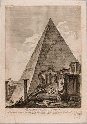 Piramide di Caio Cestio, veduta generale di scorcio alle mura