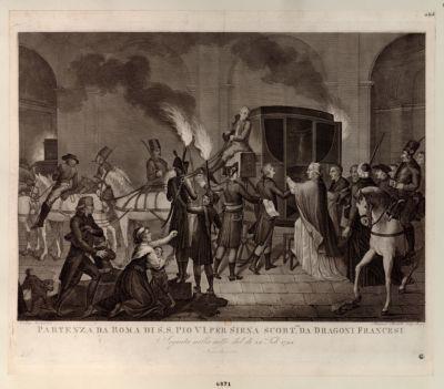 Partenza da Roma di S.S. Pio VI per Siena scortto da dragoni francesi seguita nella notte del. di 20 feb. 1798 : [estampe]