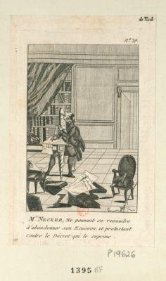 Mr Necker, ne pouvant se resoudre d'abandonner son ecusson, et protestant contre le décret qui le suprime [estampe]