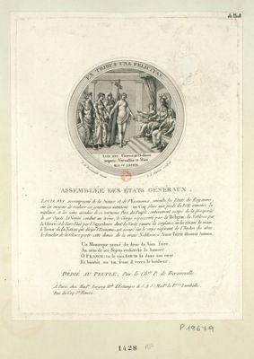 Assemblée des Etats généraux Louis XVI accompagné de la Justice et de <em>l'Economie</em>, consulte les Etats du royaume sur les moyens de réaliser ses généreuses intentions : [estampe]