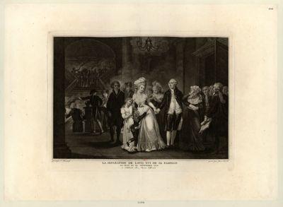 La  Séparation de <em>Louis</em> <em>XVI</em> de sa famille la nuit du <em>29</em> septembre <em>1792</em> : [estampe]