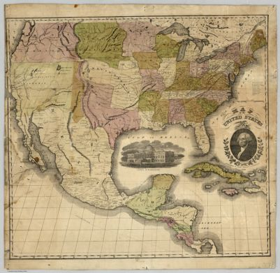 Mitchells New National Map Exhibiting The United States With The - Us Map Globular Projection