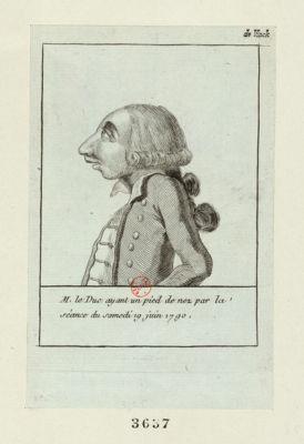 M. le duc ayant un pied <em>de</em> nez par <em>la</em> séance du samedi 19 juin 1790 [estampe]