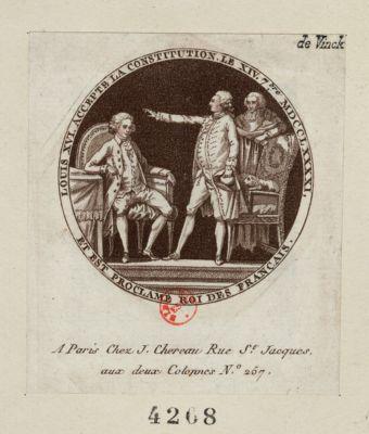 Louis XVI accepte la Constitution le XIV 7.bre MDCCLXXXXI, et est proclame roi des français [estampe]