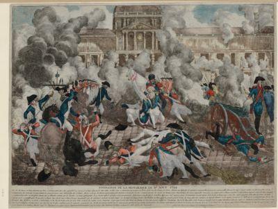 Fondation de la République le 10 août 1792 vers les dix heures et demie du matin, tout Paris se trouvait pour ainsi dire, rassemblée au Carroussel et lieux adjacents, les Marseillois en tête... : [estampe]