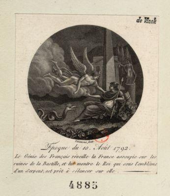 Epoque du 10, août 1792 le Génie des français réveille la France assoupie sur les ruines de la Bastille, et lui montre le roi qui sous l'emblême d'un serpent, est prêt à s'élancer sur elle : [estampe]