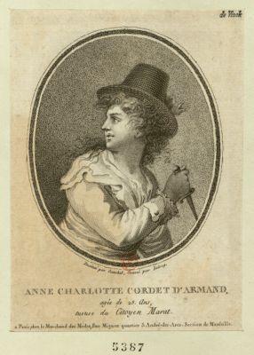 Anne Charlotte Cordet d'Armand agée de 25 ans, tueuse du citoyen Marat : [estampe]