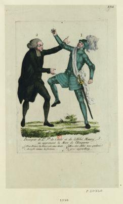Desespoir de L.is-J.ph de Condé et de <em>l'abbé</em> <em>Maury</em> en apprenant la mort de l'Empereur 1. mon cher <em>abbé</em> nous perdons gros aujourdhuy 2. mon prince, la mort est sans doute aveugle comme la fortune : [estampe]