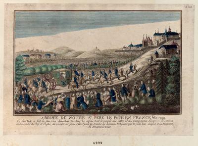 Arrivée de notre S.t Père le pape en France L'An 1799 ce spectacle a fait la plus vive sensation... : [estampe]