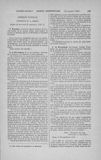 Tome 19 : Du 16 septembre au 23 octobre 1790 - page 309