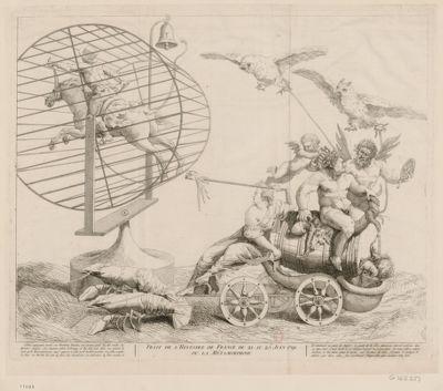 Trait de l'histoire de France du 21 au 25 juin 1791 ou la métamorphose Silène, voyageant monté sur Mirabeau-Tonneau, son énorme poids lui fait rendre les derniers soupirs. Son mauvais génie le trompe et lui fait voir dans un miroir la route qu'il desire parcourir, mais opposée à celle qu'il voulait prendre... : [estampe]