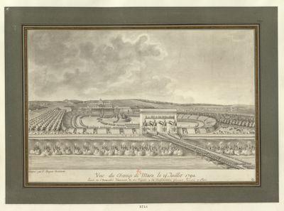 Vue du Champ de Mars le 14 juillet 1790 entrée de l'Assemblée nationale et des députés à la Confédération générale éxécutée à Paris : [dessin]