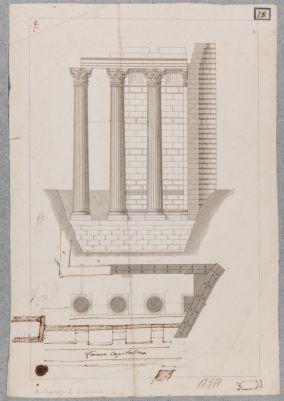 Foro d'Augusto. Tempio di Marte Ultore pianta e alzato