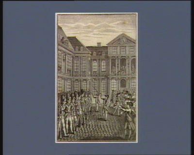 Le  Jour de la séance royale le peuple s'etant porté en foule au chateau, des princes mal intentionnés firent donner aux Gardes françaises l'ordre de tirer, mais ces braves soldats, saisis d'indignation, poserent leurs armes d'un commun accord, et jouirent de la rage de leurs officiers et des transports de joye du public : [estampe]