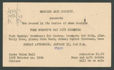 Bayside Jazz Society presents Bay City Stompers, January, 15, 1950