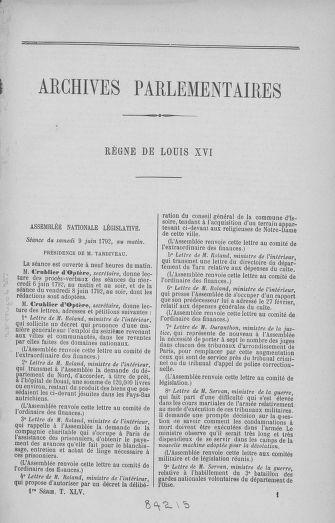 Tome 45 : Du 9 au 30 juin 1792 - page ..