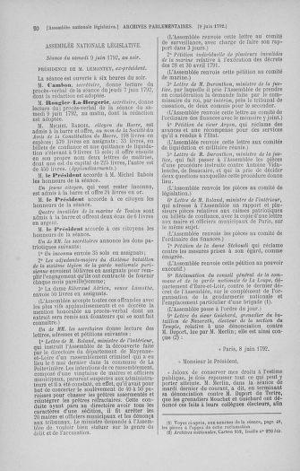 Tome 45 : Du 9 au 30 juin 1792 - page 20