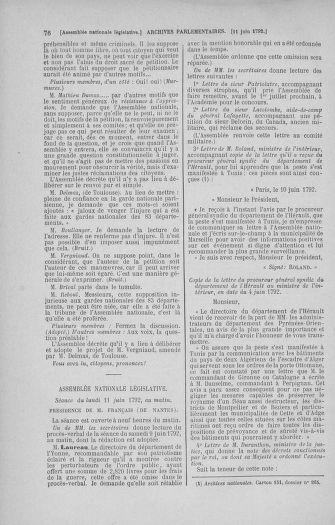 Tome 45 : Du 9 au 30 juin 1792 - page 76