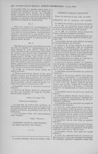 Tome 45 : Du 9 au 30 juin 1792 - page 134