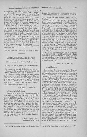 Tome 45 : Du 9 au 30 juin 1792 - page 175