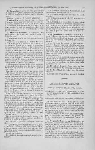 Tome 45 : Du 9 au 30 juin 1792 - page 419