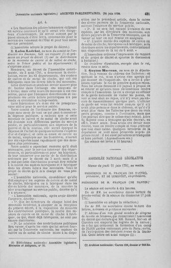 Tome 45 : Du 9 au 30 juin 1792 - page 431