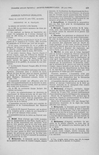 Tome 45 : Du 9 au 30 juin 1792 - page 463