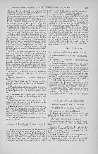 Tome 45 : Du 9 au 30 juin 1792 - page 495