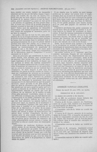 Tome 45 : Du 9 au 30 juin 1792 - page 582