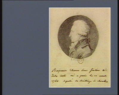 Benjamin Eleonor Louis Frotier m.is de la Cosne né à <em>Paris</em> le 10 aout 1760 député du bailliage de Charolles : [dessin]