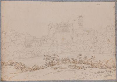 Tempio di Venere e Roma, veduta generale dal basso con pianta