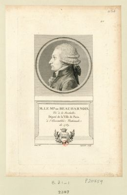 Fr.ois m.is de Beauharnois mestre de camp de dragons né à la Rochelle député de la nob.sse de Paris aux Etats Généraux de 1789 : [estampe]