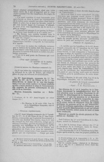 Tome 73 : Du 25 août au 11 septembre 1793 - page 70