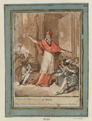 St Prix dans le rôle du cardinal de Lorraine bénissant les assassins de la St Barthélemi [dessin]
