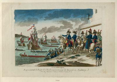 Vue d'optique, representant le projet de l'embarquement pour la descente en Angleterre [estampe]