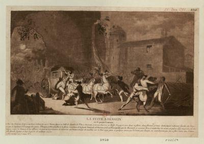 La  Fuite a déssein ou le parjure Louis XVI [estampe]