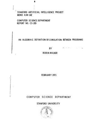 An Algebraic Definition of Simulation Between Programs. AIM-142